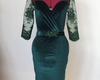 Deep Green Velvet Dress