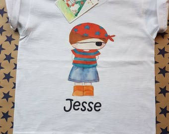 E.gilbert design pirate boy personalised t shirt