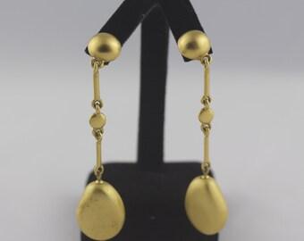Vintage Brushed Gold Drop Earrings, Clip on Earrings Dangle, Statement Earrings, Bridesmaid Gift,  Dangle Earrings, Dressy Earrings, 1990s