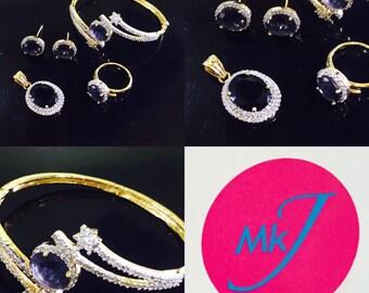 Pendant,Stud Earrings,Ring and Bangle Set. Dark Blue / Navy Blue