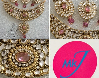 Pink Earrings, Necklace and Tikka Set