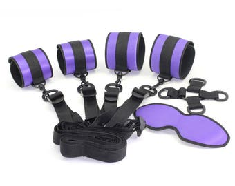 Bondage satin under bed restraints, handcuffs, ankle cuffs, 4-way central cross-point and underbed straps, restraints   (mature)