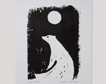 Polar Bear & Moon Handprinted Linocut