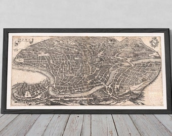 Old Rome Map Poster | HUGE Fine Art, Giclée Reproduction, Vintage Wall Art Map Print of European Capital Italy