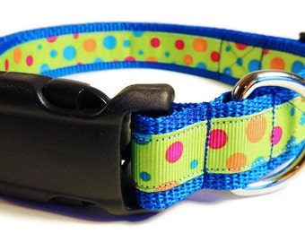 Large Multi-Colored Dots Dog Collar