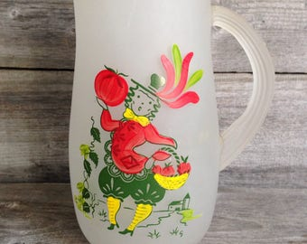 """Vintage Gay Fad """"Provincial"""" Tomato Juice Frosted Pitcher with company signature"""