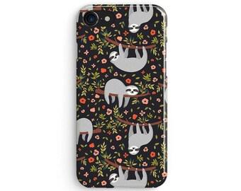 Sloths floral grey pattern - iPhone X case, iPhone 8 case, iPhone 8 Plus, iPhone 7 case, Samsung Galaxy Note 8 case 1C109