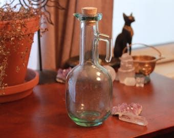 Vintage Glass Bottle - Wicca - Witch Bottle - Glass Bottle with Cork Lid - Storage - Herbs - Tea - Spells - Potions - Tincture - Oil