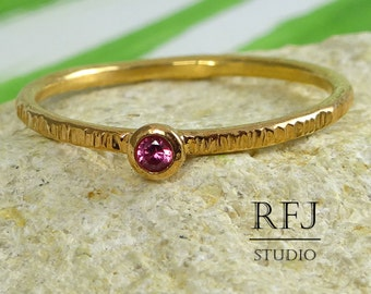 14K Gold  Textured Lab Ruby Ring, July Birthstone Gemstone Jewelry Pink 2mm Corund 14K Rose Gold Plated Ring Stacking Rose GF Ruby Ring