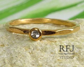 Rose Gold Natural White Topaz Faceted Ring, 14K Rose Gold Plated 2mm Round Genuine White Topaz Stacking Ring April Birthstone Rose Gold Ring