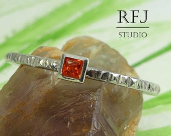 Square Lab Spessartine Garnet Textured Silver Ring, Princess Cut 2x2 mm Red Orange CZ Promise Stacking Ring Square Setting Spessartite Ring