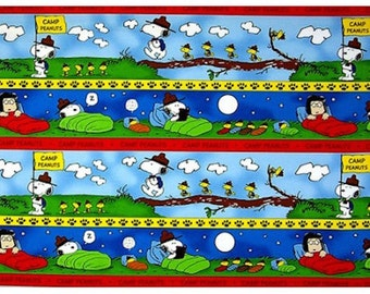 "Cartoon Fabric, Snoopy Fabric : Peanuts CAMP PEANUTS SCENIC stripe Blue by Quilting Treasures 100% cotton fabric by the yard 36""x44"" (QT31)"