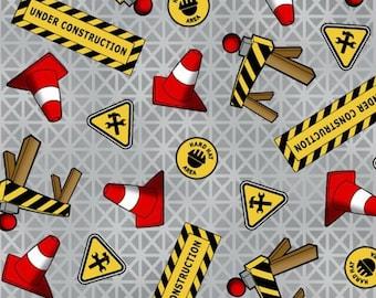 "Tonka Fabric,Cartoon Fabric: Tonka Trucks - Tonga Road Work Construction cone signs GREY 100% cotton fabric by the Fabric 36""x44"" (K297)"