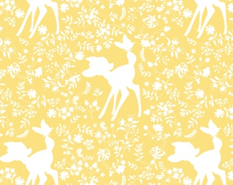 "New Camelot Disney Bambi Silhouette in Yellow - Deer Bambi and butterflies 100% Cotton Fabric by the yard 36""x43"" (CA331)"