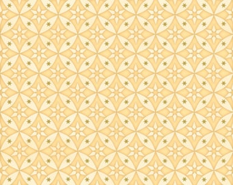 "Geometric Fabric: CELESTIAL Sol Star GEOMETRIC on Butter by Quilting Treasures 100% cotton fabric by the yard 36""x43"" (N552)"