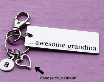 Personalized Grandma Key Chain Awesome Grandma Stainless Steel Customized with Your Charm & Initial - K480