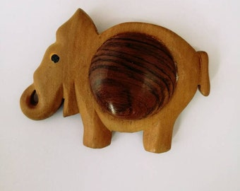 Big Mid-Century Carved Wooden Elephant Brooch