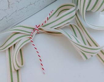 green and cream ticking stripe cotton ribbon