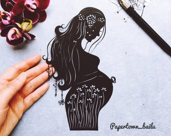 Mother-to-be; Baby shower gift; Gift for her; Paper art; Original handcut papercut
