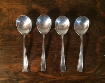 Alvin Spoons - Set of 4 Vintage Silver or Plated Spoons