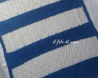 Cover cot-white and blue striped cotton