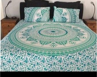 King Size Green Quilt Doona Cover Mandala Reversible 2 Pillow Cases
