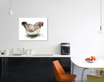 Hen print // A4 hen print // chicken print // chicken decor // chicken art // chicken lover gift // chicken gifts // country kitchen decor