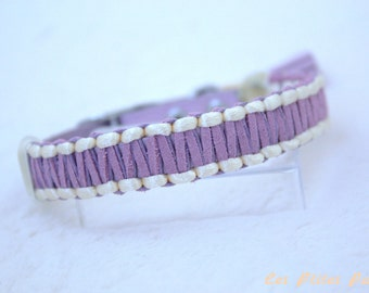 Adjustable dog collar purple and pale yellow