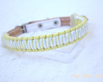 Adjustable braided dog collar yellow and white 9,4 to 11,8 inches