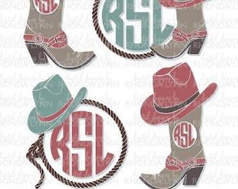 SALE! Cowgirl Monogram SVG dxf jpg png Cut File | Cowgirl Hat Monogram | Cowgirl Cut File | Country SVG | Country Girl svg | Country Frame