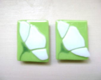 White Floral on Lime Green Kitchen Magnet Set of Two Fused Stained Glass
