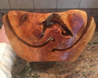 Large Wooden Yarn Bowl ~ From Cedar Root - Approximately 11 -13.5 inches across x 3.25 - 4.75 inches tall