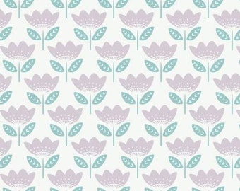 White Retro Bloom cotton fabric from Josephine collection by Camelot fabric, 100% cotton fabric sold by the yard