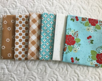 6 fat quarters from sew cherry 2 from Lori Holt for Riley Blake fabrics