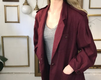Vintage Christian Dior Wool Maroon Red Puffy Sleeve Light Jacket - sz 6-8 - Free Ship