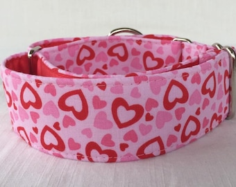 Pink Love Martingale Dog Collar