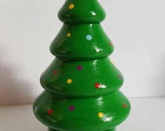 Handpainted wooden peg doll pegdoll christmas tree