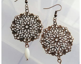 Sale~Vintage Inspired Dangly Earrings With Red Copper Colour Findings