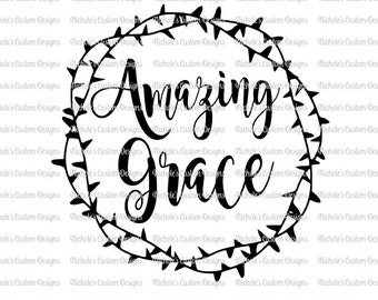 Amazing Grace with Crown of Thorns SVG file, Silhouette