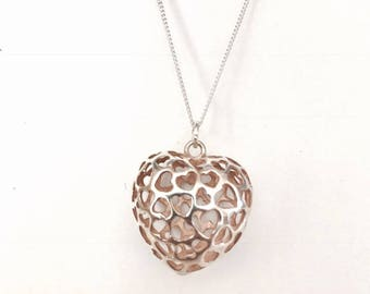 Sterling Silver Puffed Heart Pendant & Necklace.
