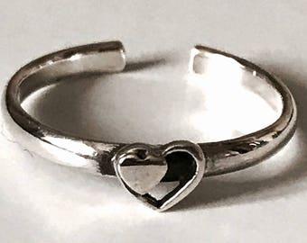 Sterling Silver Heart in a Heart Toe Ring
