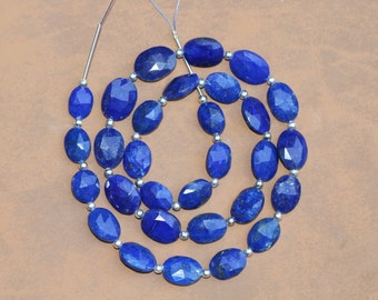 29 piece faceted Oval shape LAPIS LAZULI beads 10 -- 14 mm approx