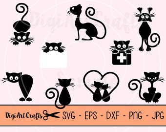 Black Cats Cut Files / clipart set / Cat Clip Art / kitty silhouettes / DIY Cat SVG cutting files / scrap booking / DXF / Commercial Use