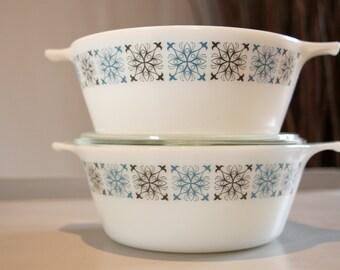 Two Pyrex JAJ Dishes/Casseroles in Chelsea Pattern
