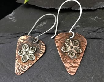 Handmade hammered textured copper dangle earrings with soldered Tibetan silver flower rustic tarnished copper jewellery Gift For Her