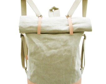Linen Backpack with Peach Goat Leather / bag /rucksack /natur / ikkibags