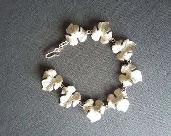 Vintage Silver Leaf Bracelet, Vintage Link Bracelet, Altered Vintage Jewelry,Antique Bracelet