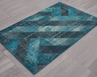 "Striped Turquoise Patchwork Rug 168x238=4.00 m2 5'6"" x 7'10"""