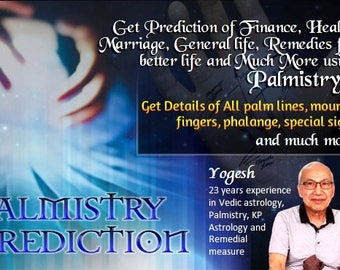 Palm reading of health, finance, marriage and relationship, fortune. Detailed and accurate palmistry Service