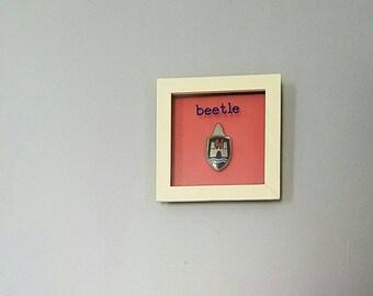 Vintage VW Beetle Hood Crest framed for mancave wall art